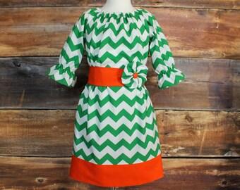 Green Chevron Peasant Dress Newborn  Child 11/12 baby infant toddler girl tween Ireland Irish St Patrick's Day orange kelly green
