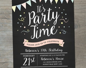 Blackboard Bunting Pastel Party Invitation