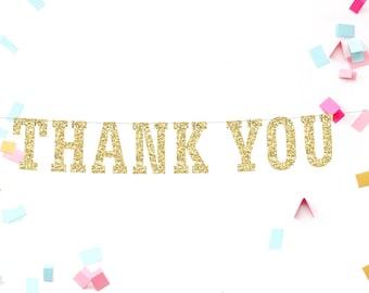 Thank You Banner, Weddng Banner, Thank You Sign, Photo Prop, Thank You Garland, Gold Glitter Banner, Bridal Shower Banner, Thank You Decor