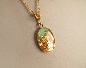 Mint Green with 23k Gold Flakes Necklace - Gift for Her