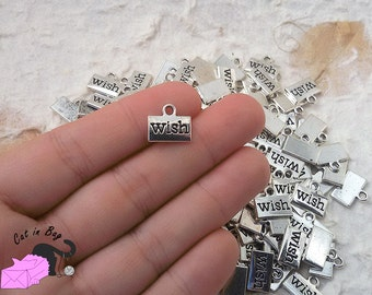 """10 Charms with the word """"Wish"""" - antique silver tone - SP3"""