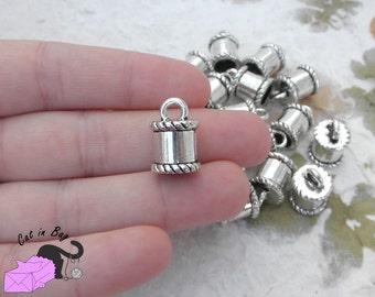 5 large end caps - Antique silver tone - SP15