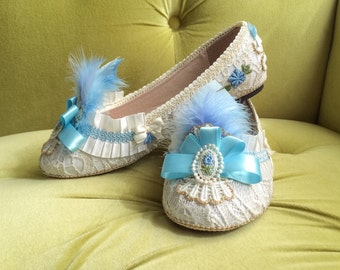Wedding Shoes Slip On Marie Antoinette Antique Style Ballet Flats Lace Parisian French Gold Ivory Blue Feather Floral Costume Slippers Cameo