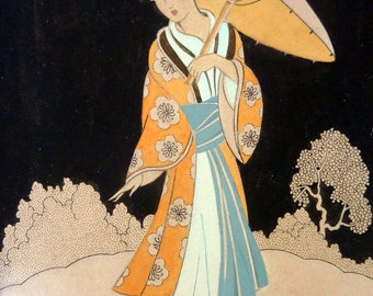 Genuine 1930s ART DECO Watercolour. Japanese Lady in a Garden, Carrying a Parasol. Signed and Dated 1933