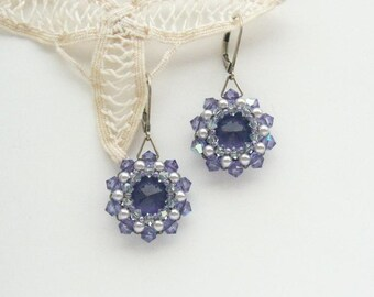 Crystal Earrings Lilac Silver