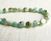 Mint Shimmer Pinch Beads - 5mm Picasso mint green gold shimmer pinch beads (30), soft gold green round beads, czech glass beads