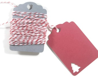 Christmas Gift Tags  Set of 10 - Red Tags with Christmas Tree - Blank Christmas Tags - Red Holiday Gift Tags - Red Christmas Tree Favors