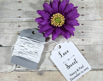 Wedding Tags set of 20 - Personalized White Wedding Favor Tags - White Custom Shower Favors - Custom Gift Tags - Baby Shower - Love is Sweet