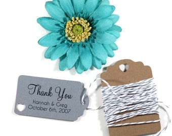 Grey Wedding Favors Set of 20 - Personalized Gift Tags - Small Grey Favor Tags - Bridal Shower Tags - Dark Grey Wedding Tags - Shower Favors