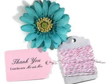 Light Pink Thank You Tags Set of 20 - Baby Pink Wedding Favor Tags - Blush Pink Favors - Thank You From The New Mr & Mrs