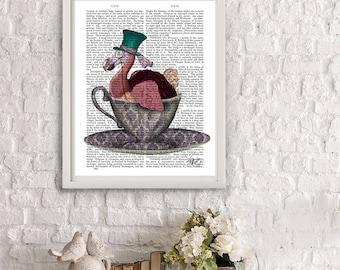 Alice in Wonderland Decoration- Dodo in Teacup - alice in wonderland print dodo bird Mad hatter tea party dodo print alice illustration