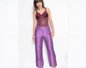 Vintage 90's Purple Linen Pants / Glossy Linen Pants