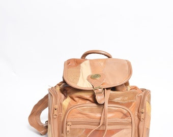 Vintage 90's Real Leather Brown Patchwork Backpack