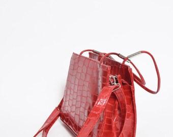 Vintage Red Patent Leather 1990's Alligator Print Mini Handbag