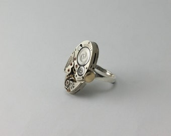 Steampunk Watch Ring, Steampunk Ring, Steampunk Jewelry, Sterling Silver Ring, Vintage Ring, Steampunk Watches, Gothic Ring, Take a second