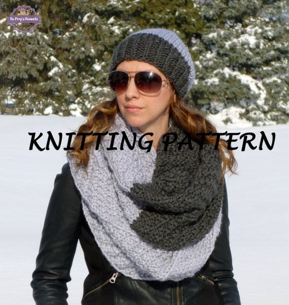 KNITTING PATTERN Two-Tone Hat and Infinity Scarf - Knit ...