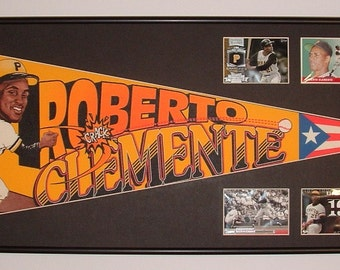 Vintage Roberto Clemente Pittsburgh Pirates Pennant & baseball card collage...Custom Framed!!!