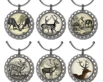Stag reindeer wine charms rustic gift winter cabin woodland Christmas party favors deer illustration drink tags.