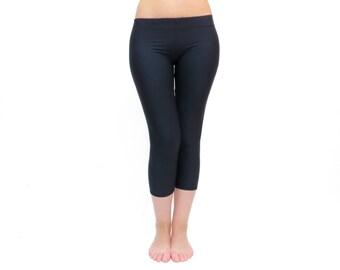 FREE SHIPPING,  Capri Yoga Pants, Black Capri Leggings, Black Gym Yoga Wear, Black crop Leggings, Low Rise Leggings, Black Workout Pants