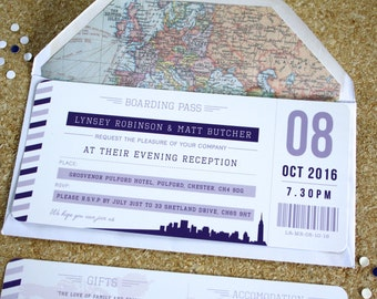 purple boarding pass wedding invitations with envelopes - Boarding Pass Wedding Invitations