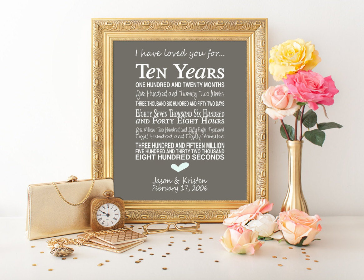 10th Wedding Anniversary Gift For Him: 10th Anniversary Gift Personalised Anniversary Print