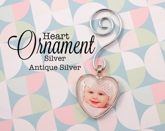 Custom Photo Ornament Heart 1 inch / 25 mm Personalized Ornament in Silver and Antique Silver