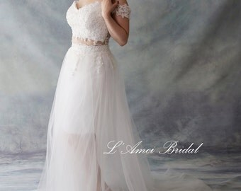 2 Piece Off Shoulder Bohemian Style Lace Wedding Dress - 2238021