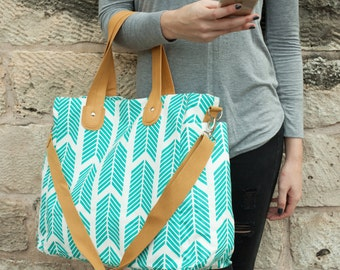 Teal Arrows Weekender Tote Bag - Large Diaper Tote
