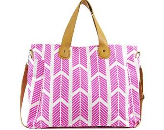 Hot Pink Arrows Weekender Tote Bag - Large Diaper Tote
