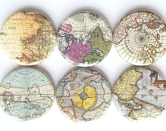 Map Magnets, Refrigerator Magnets, Colored World Maps Magnets, Fridge Magnets, Decorative Magnets, Old Maps Magnets, Vintage Maps, Set of 6
