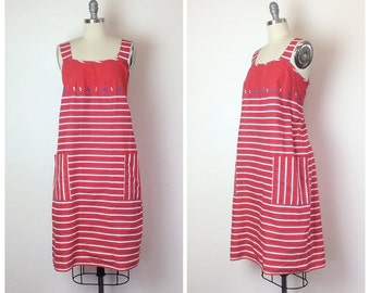 50s Red White And Blue Nautical Shift Dress - 1950s Boat Print Cover Up Sun Dress - Large - Size 10