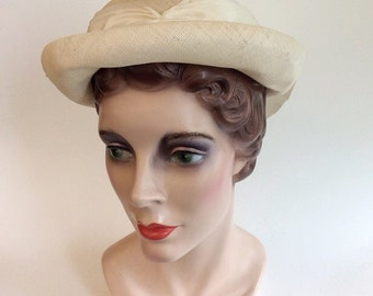 40s Tan Cream Straw Hat / 1940s Vintage Ribbon Bow Boater Hat