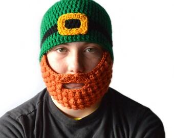Leprechaun Beard Beanie, St Patricks Day Hat with Beard, Crochet Beard Hat, Orange Beard, Green Beanie, Baby - Adult, Leprechaun Beard Set