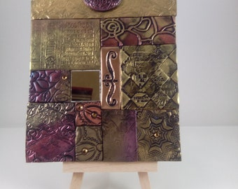 Polymer clay tile mosaic plaque