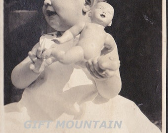 Vintage Photo Of Little Baby Girl With Doll - Digital Download