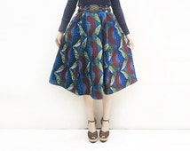 Blue African Print Midi Skirt, Full Flared Skirt, African Clothing, Last one Available - Size S!