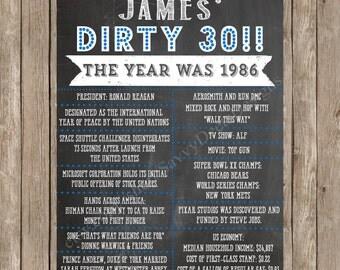 Dirty 30 Birthday Chalkboard Sign Printable - Milestone Birthday Poster - Digital File