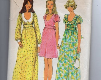 5568 Simplicity Sewing Pattern Mini or Long Dress Size 16 38B Vintage 1970s