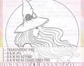 Steampunk Witch UNCOLORED Digital Stamp Image Adult Coloring Page jpeg png jpg Fantasy Craft Fae Cardmaking Papercrafting DIY