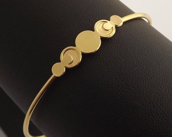 Adjustable Bangle Bracelet gold plated fine moon phase