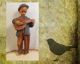 Musician Figurine, 1930's Folk Art, Street Musician, Mandolin Player, Resin Art Figures, Folk Art Hobo, Hobo w/Mandolin, Wood Resin Figure