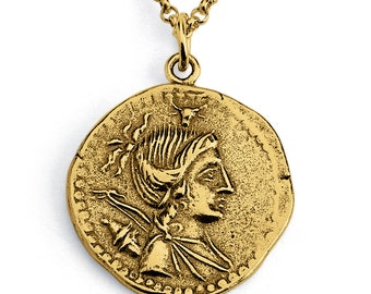 A. Postumius Albinus Replica Ancient Roman Coin Numismatic Charm Pendant Necklace #14K Gold Plated over 925 Sterling Silver #Azaggi N0436G