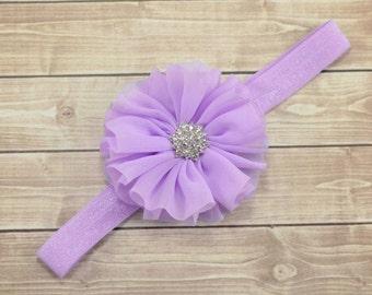 Light Lavender Flower Headband, Lavender Flower Headband, Lavender Hair Bow, Lavender Flower Girl, Easter Headband, Lavender Headband