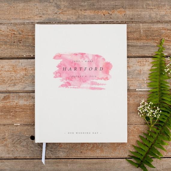 Rustic Wedding Guest Book Wedding Guestbook Custom Wedding Album registry signin rustic wedding gift keepsake watercolor pink baby guestbook