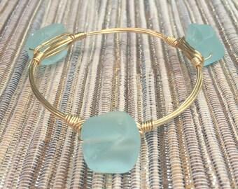 the LARGE SEA STONE bangle bracelet (tarnish resistant)--Bourbon and Bowties Inspired