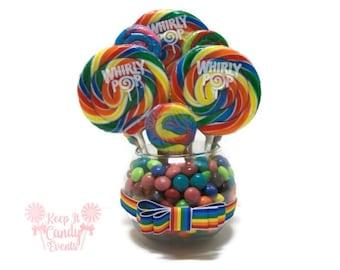 Small Rainbow Candy Centerpiece, Rainbow Lollipop Centerpiece, Rainbow Candy Buffet, Rainbow Centerpiece, Rainbow Decor, Rainbow wedding