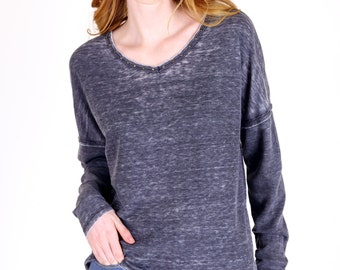 Thermal Knit Burnout Dolman Sleeve Tunic Top