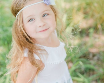 Feather Headband - Felt Flower Feather Headband - Boho Headband - Rose Feather Headband - Felt Feather - Blue Purple Felt Headband - Baby