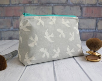 Cosmetic Bag, Toiletry Bag, Zippered Pouch, Makeup Bag - Bird Cosmetic Bag, Gray with Turquoise Lining