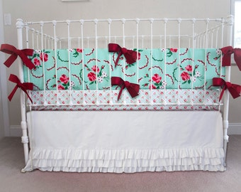 Francie's Retro Mint Rose Ruffle Bumperless Baby Bedding | 3 Piece Crib Set | Mint, Chinese Red, Pink, White